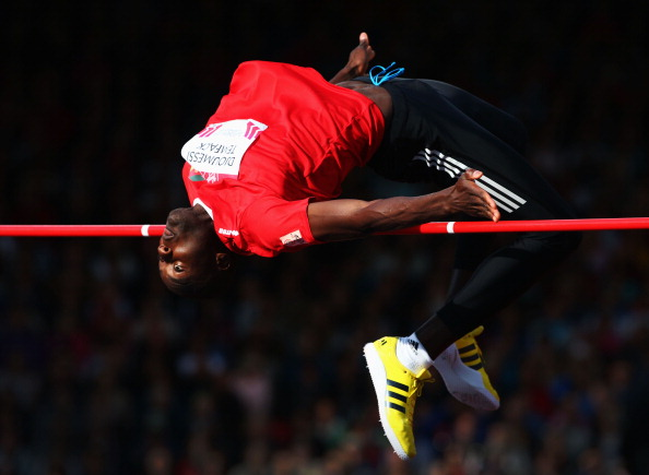 Fernand Djoumessi Temfack of Cameroon competing in the high jump ©Getty Images