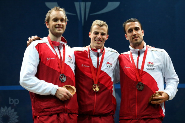 It was an England one, two, three in the men's squash singles ©Getty Images