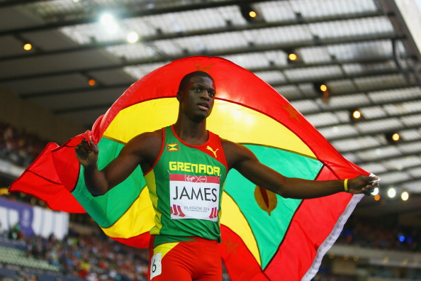 Kirani James celebrates his historic gold medal ©Getty Images