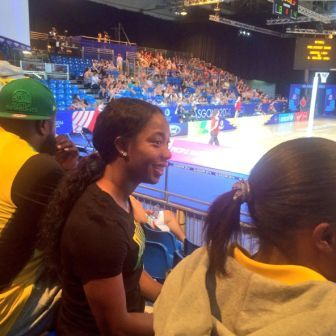 Members of the Jamaican swimming team watching the netball earlier ©Facebook