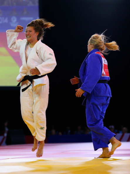 Natalie Powell celebrates after beating Gemma Gibbons in the judo ©Getty Images