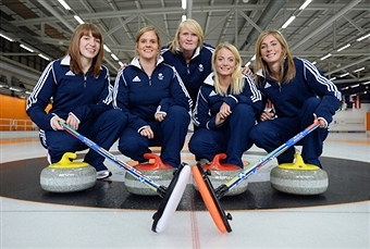 Rhona Howie (centre) has stepped down as head coach of Britain and Scotland's women's curling teams ©Getty Images