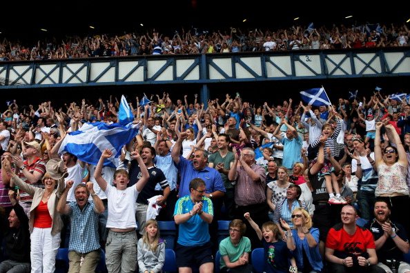 Scottish fans cheering home the underdgos at the rugby sevens today ©Getty Images