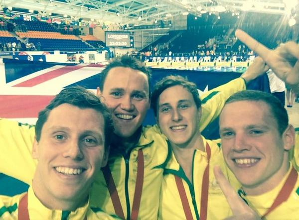The Australian 4 x 200m freestyle team celebrate their gold with a selfie ©Twitter