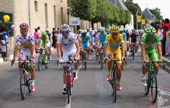Vincenzo Nibali flanked by the three other jersey winners in the Tour de France ©Getty Images