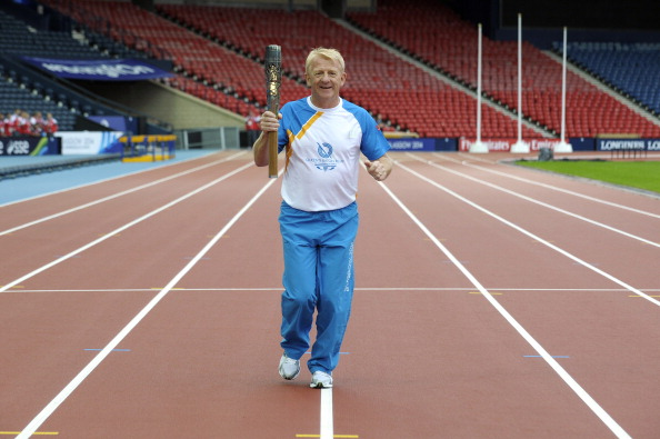 Gordon Strachan with the Queen's Baton at Hampden Park ©Getty Images