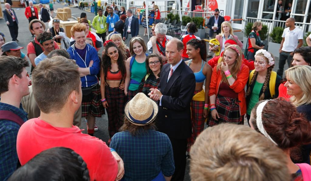HRH the Earl of Wessex joined the National Youth Theatre of Great Britain at the Athletes Village ©Getty Images