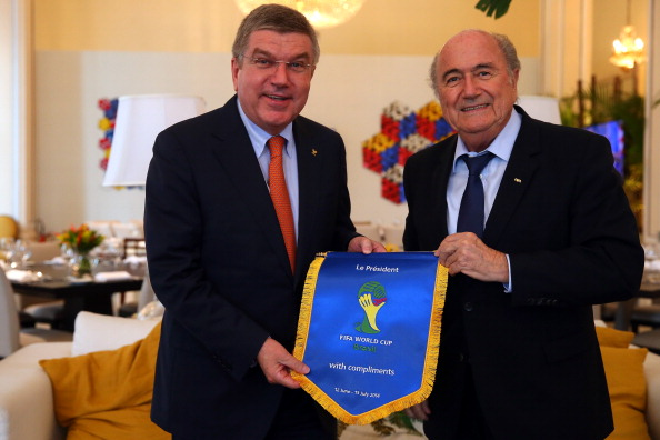 IOC President Thomas Bach met with FIFA President Sepp Blatter yesterday as he began his latest visit to Brazil ©FIFA via Getty Images