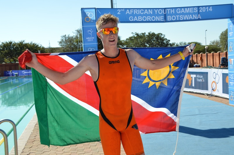 Triathlete Jean-Paul Burger won one of four gold medals for Nambia at the African Youth Games ©NNOC