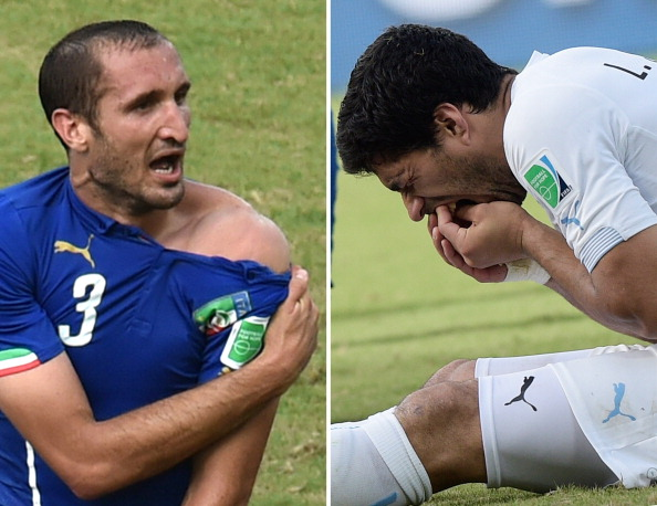 Luis Suárez has since apologised to Giorgio Chiellini for biting him ©AFP/Getty Images