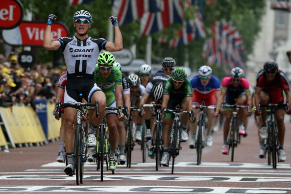 Marcel Kittel won his second stage of the Tour de France after sprinting clear on the Mall this afternoon ©AFP/Getty Images