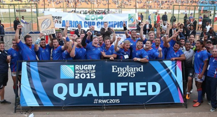 Namibia's team celebrate becoming the 19th nation to qualify for the Rugby World Cup 2015 ©RWC 2015
