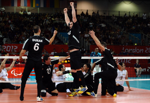 Safet Alibasic (centre, standing), was named Most Valuable Player at the World Paravolley Sitting Volleyball World Championships ©AFP/Getty Images