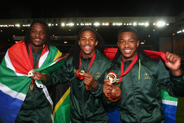 South African players celebrate their historic win over New Zealand ©Getty Images
