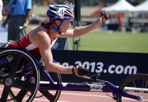 Tatyana McFadden winning one of six gold medals at last year's Athletics World Championships in Lyon, thanks in part to coach Adam Bleakley ©Getty Images