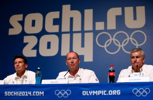 The announcement is a second commercial boost for BOA chief executive Bill Sweeney (right), pictured alongside BOA chairman Sebastian Coe and Sochi 2014 Chef de Mission Mike Hay, since his appointment last October ©Getty Images