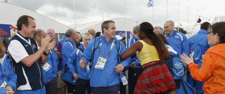 The first representatives of Team Scotland were officially welcomed to the Glasgow 2014 Commonwealth Games Athletes' Village yesterday ©Glasgow 2014