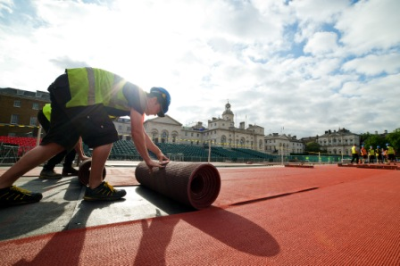 The London 2012 Olympic Stadium track has moved location for the Anniversary Games ©UK Athletics