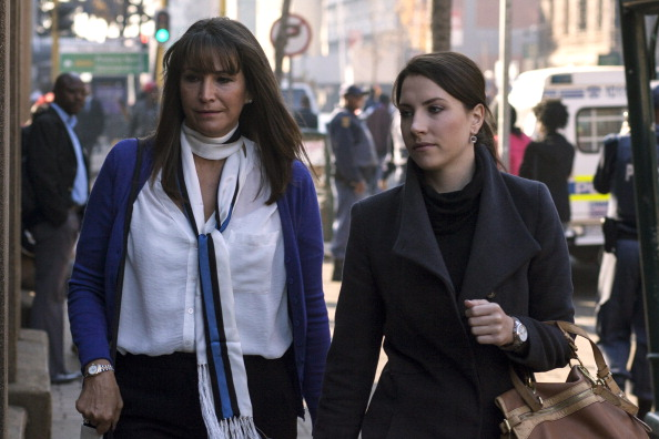 The sister of Oscar Pistorius, Aimee (right), was in court to listen to evidence from the athlete's manager and a Professor who has treated him for six years ©Getty Images