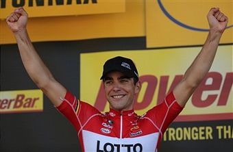 Tony Gallopin celebrates his stage win on the Tour de France in Oyonnax today ©Getty Images