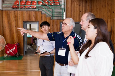 International Technical Sub-Committee members visiting Speer Girls' High School, to be used as a training venue for basketball ©Gwangju 2015