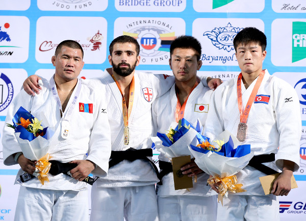 Tsagaanbaatar Khashbaatar was the only non-Asian gold medallist in Mongolia today as he secured the men's under 73kg title ©IJF