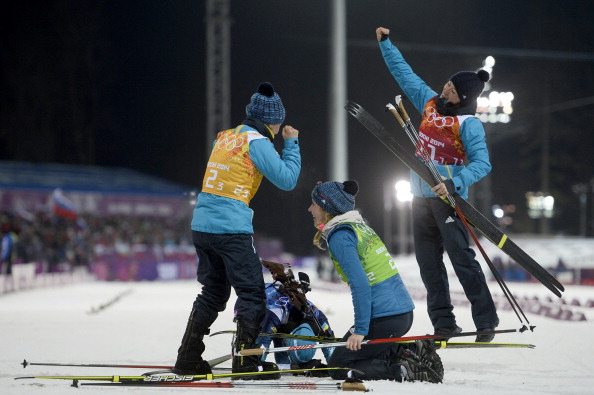 A Ukrainian biathlon quartet won gold at Sochi 2014 in a race in which Russia finished second ©AFP/Getty Images