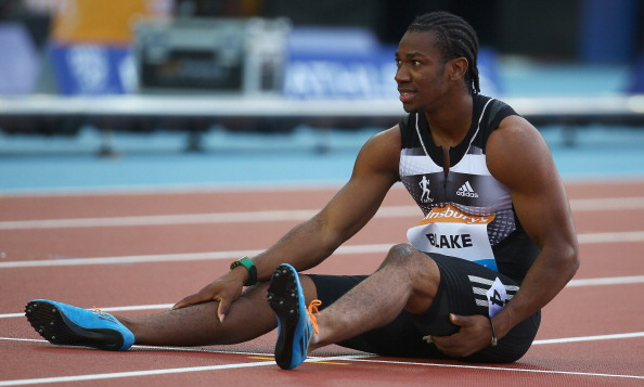 Yohan Blake contemplates another injury after pulling up during tonight's 100m in the IAAF Diamond League meeting in Glasgow ©Getty Images