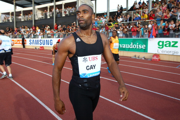 Tyson Gay reacts after finishing second over 100m at the IAAF Diamond League meeting in Lausanne - his comeback race after serving a doping ban halved by the US Anti Doping Agency ©Getty Images