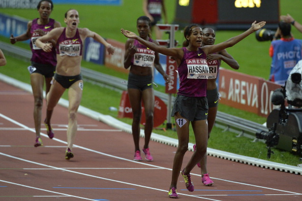 Sifan Hassan of the Netherlands earns a surprise women's 1500m victory in Paris in a national record of 3:57.00sec ©AFP/Getty Images