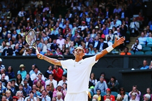 Australian Nick Kyrgios secured the biggest win of his career against world number one Rafael Nadal at Wimbledon ©Getty Images