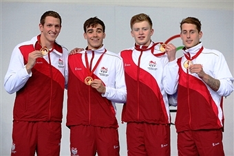 England's men's 4x100m medley relay team claimed a dramatic win in the final swimming race of Glasgow 2014 ©Getty Images