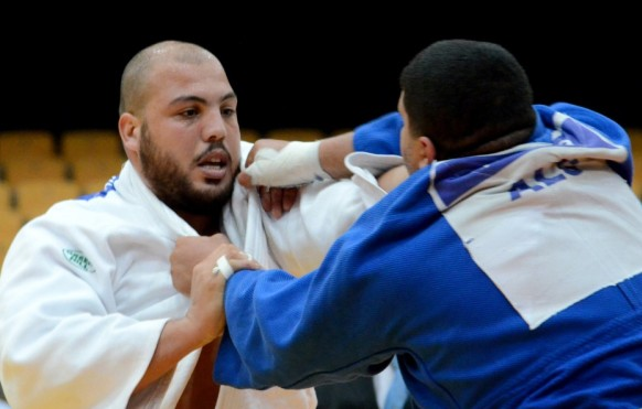 Faciel Jaballah (left) became the first African judoka to top the world rankings after winning continental titles in Mauritius ©IJF