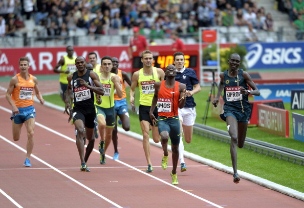 Asbel Kiprop, double world 1500m champion, warms up for his world record attempt in Monaco by winning the 800m at the Paris Diamond League meeting in 1min 43.34sec, the fastest time run this year ©AFP/Getty Images