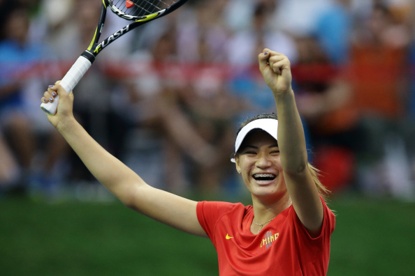 A smile of delight from Xu Shilin of China after coming out on top in the final of the women's singles tennis ©Getty Images