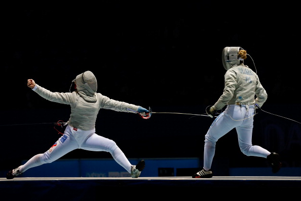 Alina Moseyko of Russia (left) took sabre fencing gold ©Getty Images