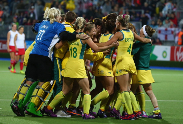 Australia celebrate their sensational victory in the women's hockey final ©Getty Images