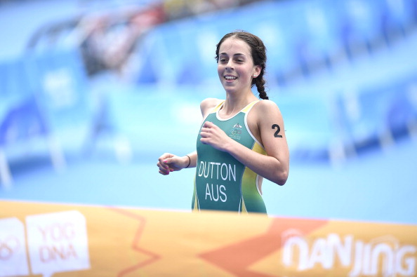 Brittany Dutton has won gold in the women's triathlon at Nanjing 2014 ©Getty Images