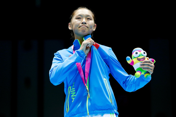 Chang Yuan celebrates a historic gold medal in the women's boxing ©Getty Images