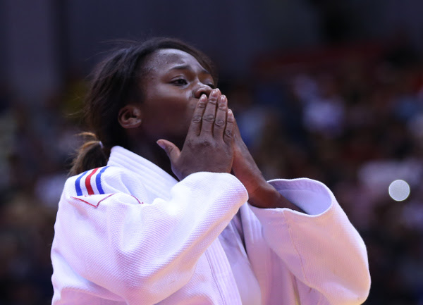 France's Clarisse Agbegnenou celebrates her victory in the women's under-63kg class ©IJF