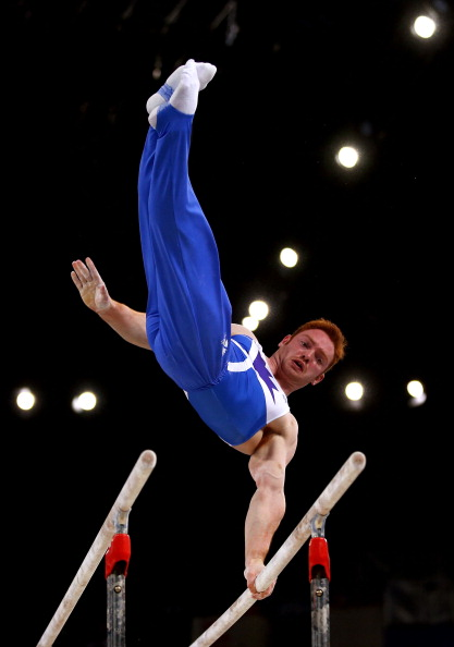 Daniel Purvis winning gold on the parallel bars ©Getty Images