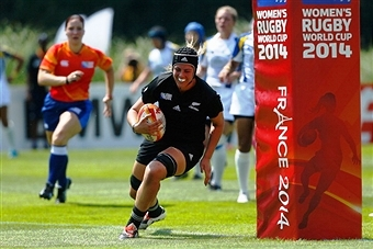 Defending champions New Zealand are all smiles after running in 13 tries in their opening match in France ©Getty Images