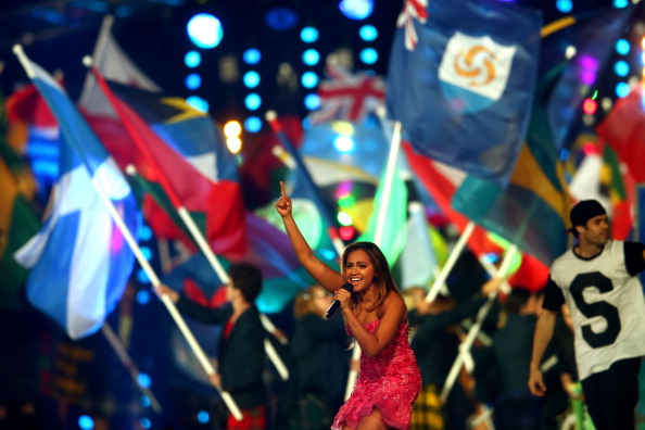 Jessica Mauboy on stage at the Glasgow 2014 Closing Ceremony ©Getty Images