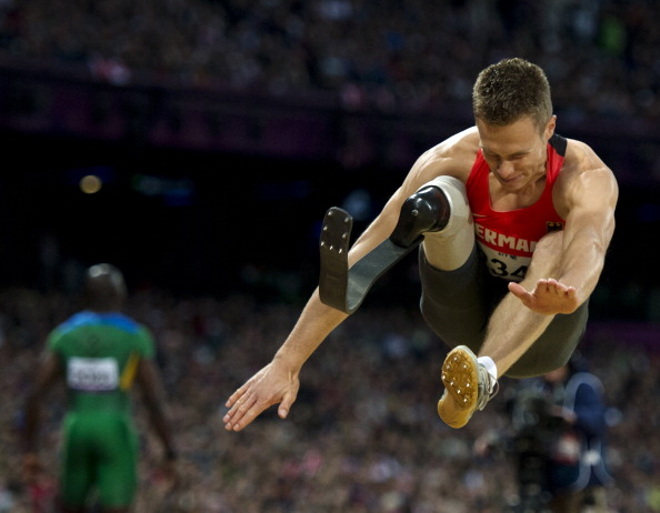 Markus Rehm is being prevented from competing alongside able-bodied long jumpers at the European Athletics Championships ©AFP/Getty Images
