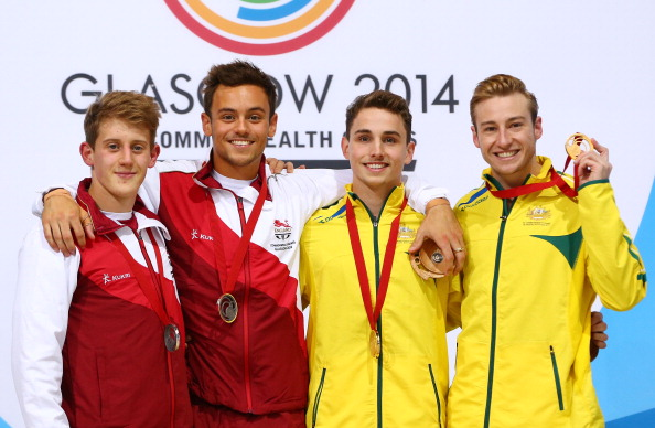 Matthew Mitcham and Domonic Bedggood edged gold in the men's 10m platform event today ©Getty Images