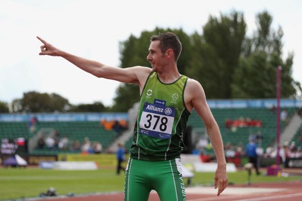 Michael McKillop celebrates winning the IPC Athletics European Championships 800m T38 at Swansea ©British Athletics via Getty Images