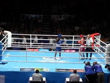 Olympic champion Nicola Adams in boxing action ©ITG