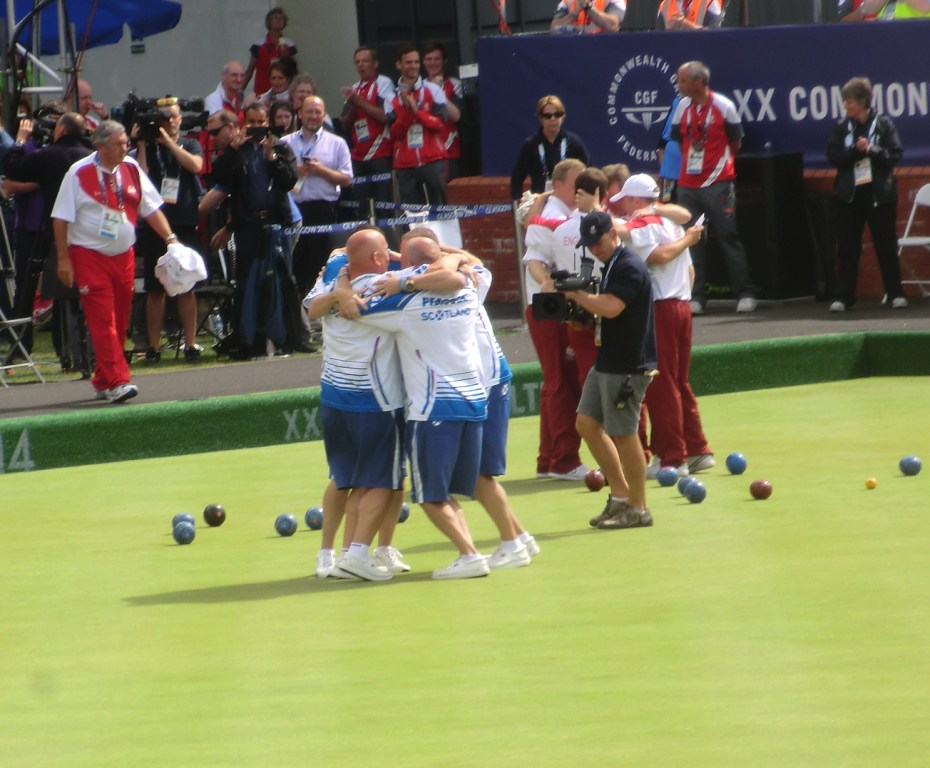 Scotland celebrate their victory in the men's fours