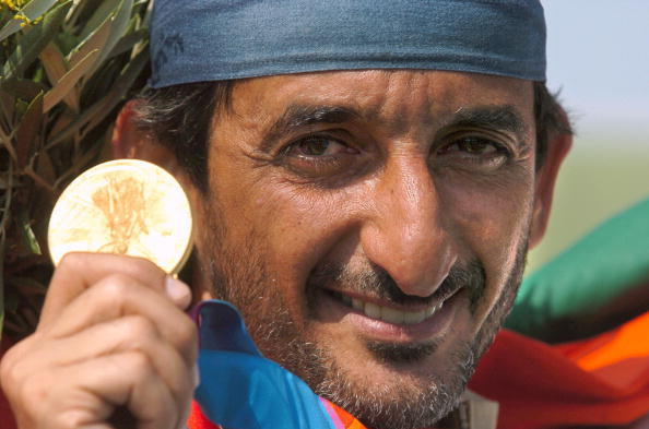 Shaikh Ahmad Hasher Al Maktoum is the only athlete from the United Arab Emirates to have won an Olympic medal, a gold, in double-trap shooting at Athens 2004 ©AFP/Getty Images