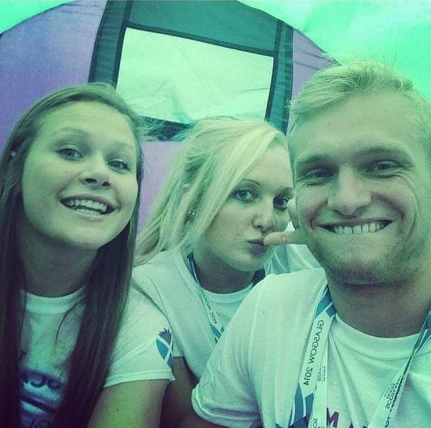 Team Scotland's Katie Armitage, Sian Harkin and Joe Welstead inside a Closing Ceremony tent ©Instagram